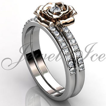 Engagement Ring Set - 14k White and Rose Gold Diamond Unique Flower Wedding Band Engagement Ring Set Bridal Set ER-1123-5