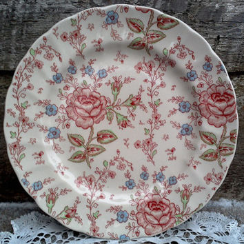 "Vintage Rose Chintz, 9 7/8"" Dinner Plate, Johnson Brothers,  ""Rose Chintz"", Roses, Floral, Serving Plate, Wall Decor"