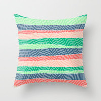 Beach Stripe (Spring) Throw Pillow by Jacqueline Maldonado