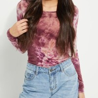 Burgundy Long Sleeved Tie Dyed Top