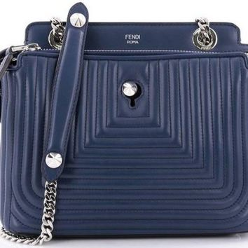 Fendi Dotcom Click True Blue Small Quilted Lambskin Leather Chain Satchel Bag Silver Hardware 8BN299