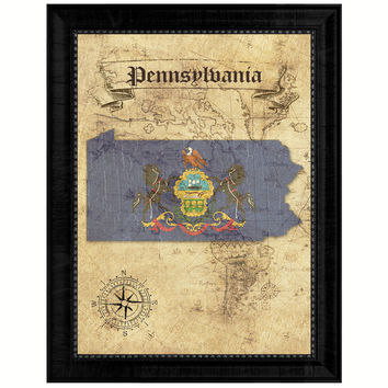 Pennsylvania State Vintage Map Gifts Home Decor Wall Art Office Decoration