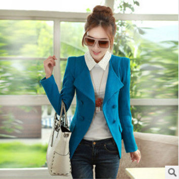 Women autumn winter wool blazers Nice new fashion casual solid cardigan slim double breasted blazer coats S1618
