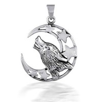 Bling Jewelry Howling Moon Pendant
