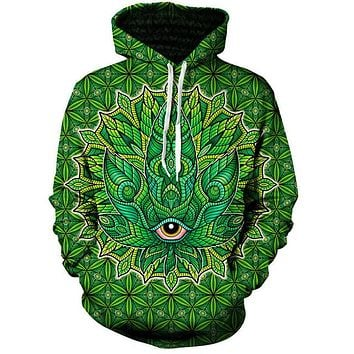Trippy Leaf Graphic Hoodie - CannaHoodies