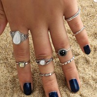Ring Water Droplets Vintage Alloy Gemstone Set [11790888783]