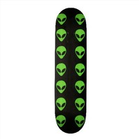 Alien Faces- Green Skateboard from Zazzle.com