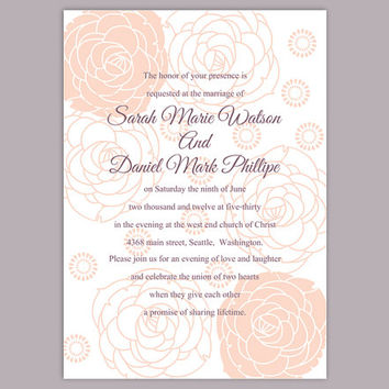 DIY Wedding Invitation Template Editable Word File Instant Download Printable Floral Invitation Rose Wedding Invitation Peach Invitations