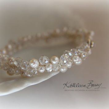 R650 Willow Bracelet - Crystal & fresh water pearl bridal cuff bracelet - wedding accessories jewelry