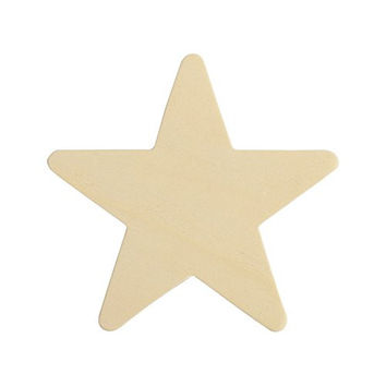 "Wood Star 3-3/4 inch, Natural Unfinished Wooden Star Cutout Shape (3-3/4"") - Bag of 25"