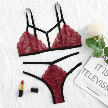 Fashion  Lingerie Set  Arrival Burgundy Woman Clothing Sexy Lingerie Sets