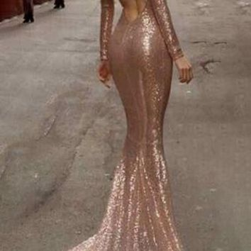 Leading Lady Gold Long Sleeve Sequin Scoop Neck Open Cut Out Back Mermaid Maxi Gown Dress
