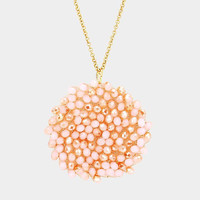 Peach Beaded Disc Pendant Long Necklace