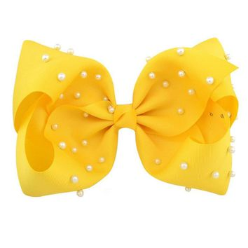 8 Inch Hair Bow Yellow Pearl Signature