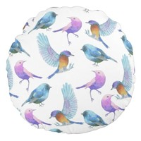 Watercolor Safari: Birds (Customizeable BG) Round Pillow