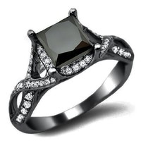 2.30ct Black Princess Cut Diamond Engagement Ring 18k Black Gold Rhodium Plating Over White Gold
