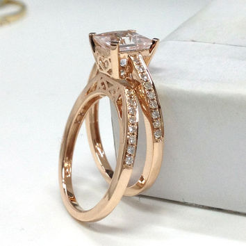Morganite Wedding Ring Set!Diamond Engagement Ring 14K Rose Gold,6.5mm Asscher Cut Pink Morganite,SIX Prongs,Filigree Stacking Matching Band