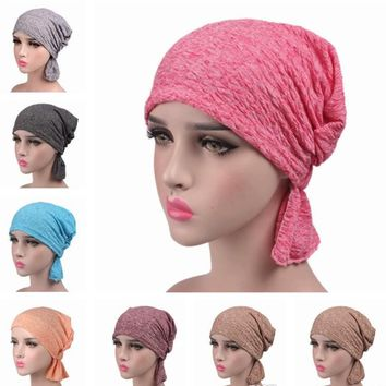 Cancer Chemo Cap Pre-Tied Elastic Soft Head scarf Wrap Hair Loss One Size Adult Turban Cover