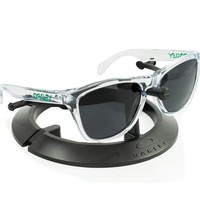 OAKLEY FROGSKINS CLEAR GREEN ICONS FRAME / REVANT BLACK POLARIZED CUSTOM LENSES