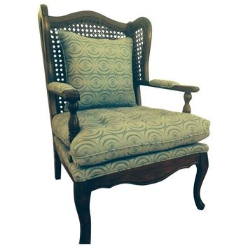 "Pre-owned Vintage Wingback Chair in India Hicks' ""Ripple"""