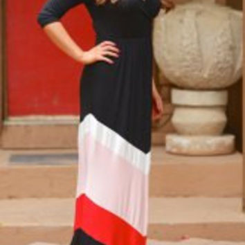 Color Block Zigzag Printed V-Neck Maxi Dress