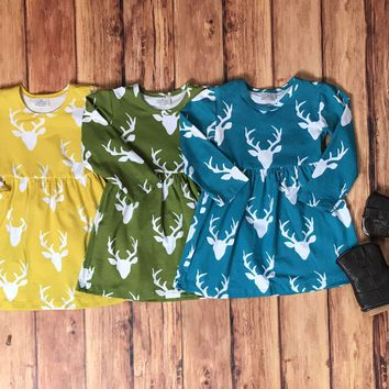 SALE RTS-DEER DRESS, BABY GIRLS FALL CLOTHES
