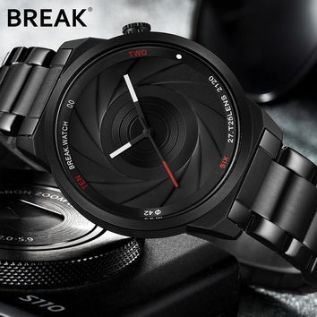 BREAK Photographer Series Unique Camera Style Stainless Strap Unisex Casual Watch