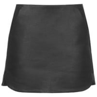 PU Curved Hem Pelmet Skirt - Black