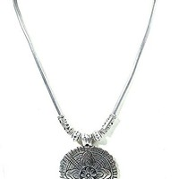 Vintage, Retro Floral Pendant and Chain with Antique Silver Tone Finish ,Gift for Mother'