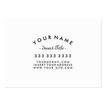 Curved Text Professional Black and White Custom Large Business Card