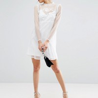ASOS Dobby Mesh Embroidered Smock Dress at asos.com