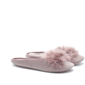 Quilted mule slippers with marabou feather trim