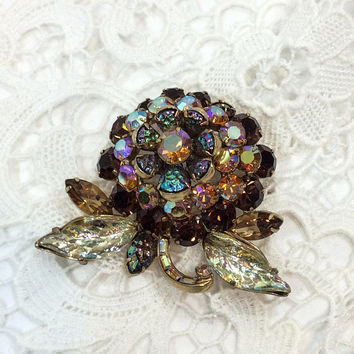 Hollycraft Flower Brooch, Root Beer Crystals & Blue Molded Glass, Aurora Borealis Rhinestone Brooch, Statement Jewelry, 1960s, Vintage