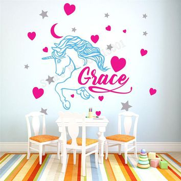 Wall Art Sticker Personalized Name Unicorn Cute Room Decoration Vinyl Removeable Heart Star Decal Custom Kids Bedroom LY442