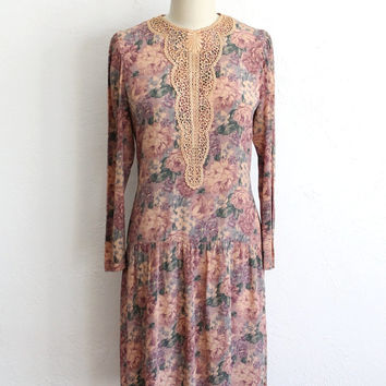 Vintage 70s Peach Pink Floral Lace Bodice Dropped Waist Dress // XS Small S