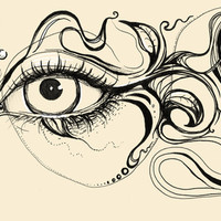 Eye Fish Doodle Art Print by Olechka