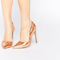 Lost Ink Cleo Rose Gold High Heeled Pumps