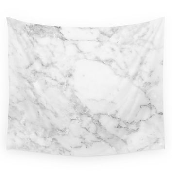 Society6 Marble White And Grey Wall Tapestry