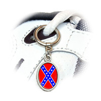 Confederate Southern Rebel Flag Distressed Shoe Charm - No. 2