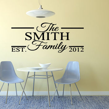 Family Name Wedding Wall Decal Made To order Fast Production Shipping within 24 hours...Several Color Opt