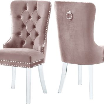 Miley Pink Velvet Dining Chair (set of 2)