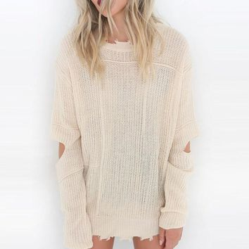 Ripped Blush Sheer Pullover Sweater