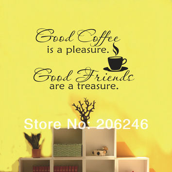 Hot Sale  New Design-Good Coffee Friends Wall Vinyl Sticker Decal Quote Saying Kitchen Decor  SM6