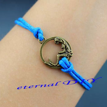 Blue wax rope mermaid bracelet, sleeping beauty bracelet, meaningful souvenirs gift friendship