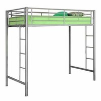 Distinct Metal Twin Loft Bunk Bed in Silver by Walker Edison