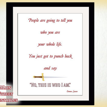 Once Upon a Time Sign,This is who I am, Emma Swan, Cinderella, ABC Television, Art Printable, 8 X 10, INSTANT DOWNLOAD