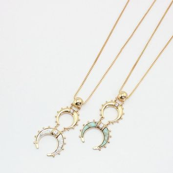 Crescent Horn Stone Necklace - Mint & White