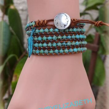 Turquoise Seed Bead Leather Wrap Bracelet, Native American Leather Wrap Bracelet.