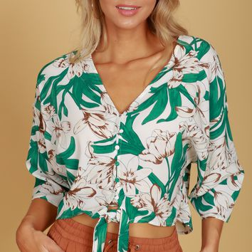 Floral Print Cropped Knot Blouse Ivory/Multi