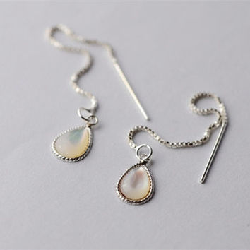 925 Sterling Silver White Mother of Pearl Water Drop Drip Thread Earrings
